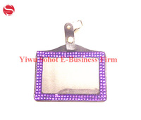 Waterproof Bling Crystal Bridal ID Badge Holders PU leather credit card certificate case