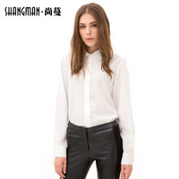 2014 New autumn European style women full sleeve with turn down collar fashion shirts in stock,China free shipping