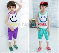 Wholesale Cartoon Smiley Baby Boys And Girls Vest Suit  Vest + Shorts Kids Clothing 5 Size 2 Colors