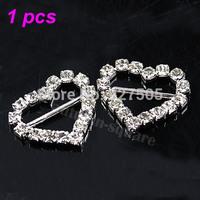 Crystal Clear Silver Heart Rhinestone Buckle Ribbon Wedding Supply  free shipping