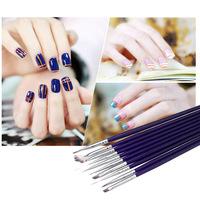 Lowest Price 10pcs/Set DIY Professional UV Gel Nail Print Brush Pen Polish Brush Set Nail Art Design Painting Tool Pen Purple