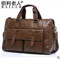 Free shipping 2014 genuine leather brand high quality men travel bags male messenger bag business bag briefcase men handbag