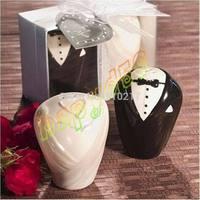 12set wedding canister wedding party gift dress wedding favors porcelain couple ceramic salt pepper shakers canister game prizes