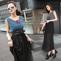 Free Shipping Chiffon Plus size dresses O-neck Short-sleeved jean cheap plus size clothing