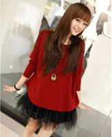 Free Shipping 100% wool Plus size dresses O-neckFashion Womens Clothing dress fake two piece cheap plus size clothing