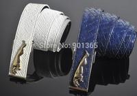 Fashion Men's Genuine Leather Waist Belt With Jaguar leopard Buckle