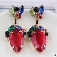 2014 New fashion big crystal earrings big gem pendant metal vintage earrings for women  earrings