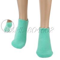 2PCS Women's Green SPA Moisturizing Pedicure Cotton Socks With Gel