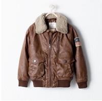 Retail 2014 autumn&winter Children patch pilot leather jacket, children's winter jacket , children's jackets for boys