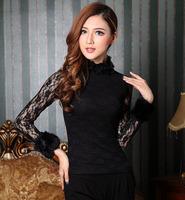 Fashion 2014 blouses shirts women elegant leather sleeve patchwork black lace blouse female floral shirt free shipping Nora10406