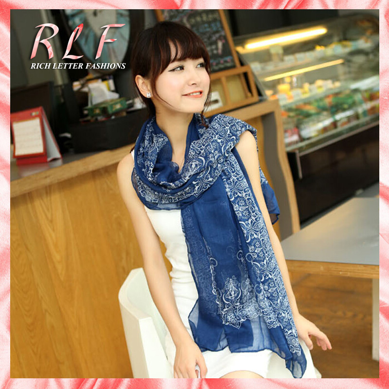 2014 limited print adult from india new fashion oversized scarves chiffon shawls and vintage porcelain scarf womenfree shipping(China (Mainland))