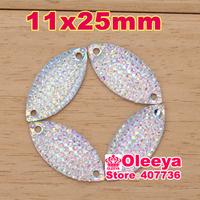 Free shipping 200pcs 11x25mm Horse eyes  Crystal AB octagon Flatback Sew On stones 2Holes  Silver Base  Sewing Crystal Stone