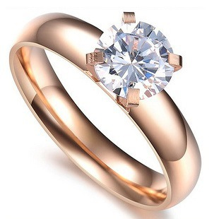 Wholesale fashion hot sell 316L Stainless Steel not fade Top Quality 1ct swiss Rhinestone 4 claws Ring with14K Rose Gold Plated(China (Mainland))