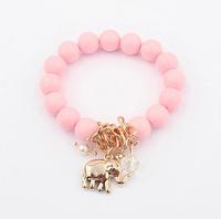 2014 New Fashion Colorful Elephant Pendant Beads Bracelet Jewelry For Women High Quality XY-B462