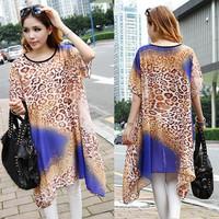 Large size women's 2014 new European style print chiffon shirt loose short-sleeved dress fat mm sub- wholesale