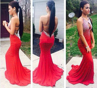 Sexy Red Mermaid Prom Dress 2014 Long Halter Beaded Slim Backless vestidos de fiesta Formal Evening Gown Party Pageant Dresses