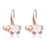 ROXI Christmas Gift Rose Gold Plated Elegant Opal Elephant Stud Earrings Genuine Austrian Crystal Luxury Earrings for Women