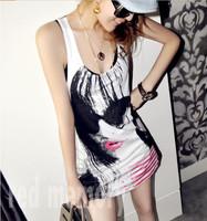 Direct wholesale 2014 Korean Women dyeing loose lips A new big swing vest dress sub mash