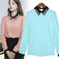 Fashion style 2014 new women long sleeve chiffon shirt female diamonds shirts blouses brand spring lady 6 colors casual(D029-D)