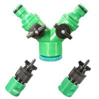 1/2'' Female Thread Value Connector Turn to 2-way 4/7mm PVC Garden House Barb Coupler #A00197