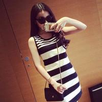 Direct wholesale 2014 summer new European striped knit sleeveless vest dress skirt package hip woman