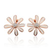 Wholesale Elegant 18K Rose Gold Plated Women's Stud Earrings White Leaf Austrian Crystal E846