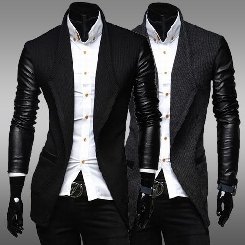 Новый мужской кожаный рукав тонкие шерстяные