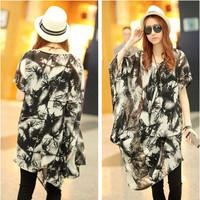 Direct wholesale 2014 summer bat sleeve loose large size women Ink feather print chiffon shirt dress child