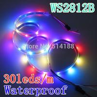 WS2812B WS2812 30 led/m led strip Waterproof IP67 Black PCB DC 5v RGB SMD 5050 Individually Addressable Full color 2roll
