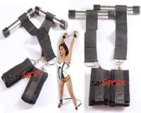 Door Restraint set: wrist cuffs and ankle cuffs, best velvet Door Jam restraint system adult game sex toys for couple