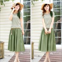 2014 summer new Korean Women Slim round neck striped two-piece dress skirt summer child wholesale