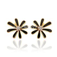 Wholesale Elegant 18K Yellow Gold Plated Women's Stud Earrings Black Leaf Austrian Crystal E844