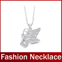 2014 New Fashion Long Link Chain Butterfly Pendant Casual Necklaces For Women Austrian Crystal Platinum Plated Necklace Jewelry