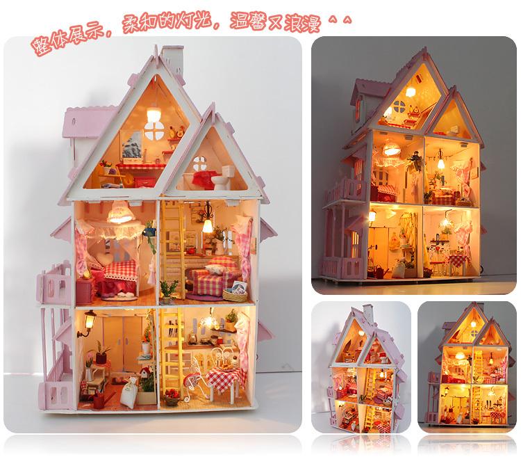 2014DIY Model Sunshine Alice Doll House Free Shipping Assemble Villa Doll Home/Wood Children Mini Wooden Toy Miniature Dollhouse(China (Mainland))