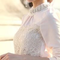 2014 autumn and winter plus size basic stylish embroidery lace blouse slim beading elegant long-sleeve lace chiffon shirt top