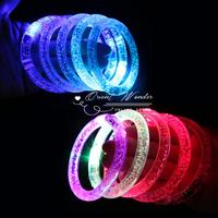 Free shipping,2pcs/lot,7color changing LED light bracelet ,flash glow acrylic bracelet glow bracelet Bangle for party