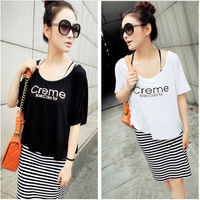Up and down the two-piece skirt 2014 summer short-sleeved black and white striped smock dress two-piece package