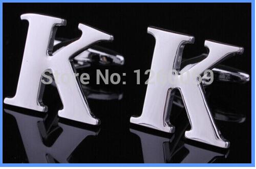 homens `s presentes casamento abotoaduras letras k francês camisa cufflinks abotoaduras moeda b23 francês(China (Mainland))