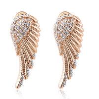 ROXI Christmas Gift Luxury Rose Gold Plated Angel's Wing Stud Earrings Delicate Genuine Austrian Crystal Earrings for Women