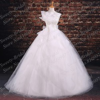 2015 New High Collar Ball Gown Wedding Dresses Cap Sleeves Sheer Neck Illusion Back White Bridal Gowns 7A379