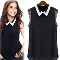 Spring Summer Brand Shirt 2014 Women's Chiffon Shirt Casual Blouse Shirts Hot! New Turn-Down Collar Fashion Sleeveless