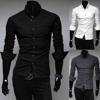 2014 new cotton corduroy solid color simple style business casual long-sleeved shirt Slim Men Wholesale