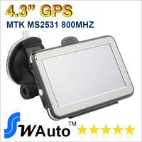 Wholesale 4.3 inch GPS Car Navigation GPS Navigation+128RAM+4G memory+ 800MHZ car gps navigation load New 3D Map,free shipping