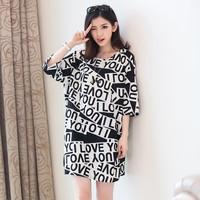 Fat mm XL Korean women's 2014 summer new personalized English words Sleeve T shirt skirt wholesale