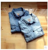 2014 New Original Single Rivet Denim Shirt Short Paragraph Slim Thin Long-Sleeved Denim Shirt Women Popular Fashion High Quality