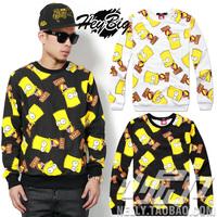 New fashion autumn winter Harajuku yellow cartoon print hoodie casual men's clothing long-sleeve pullover hip hop sweatshirt