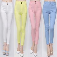 2014 autumn candy color slim all-match 9 pants women's thin denim trousers