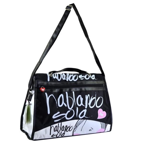 Nero ragazze casual borsa multifunzionale, cartone animato e lettera di stampa spalla crossbody borsa da donna so-260b