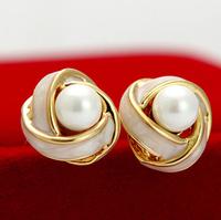 Wedding Jewelry Women Earrings Bijoux 18k Rose Gold Plate Stud Earrings