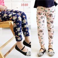 Cotton Leggings For Girl Fashion Children Print Colorful Denim Trousers Girls Printing Flower Pants 2014 Summer